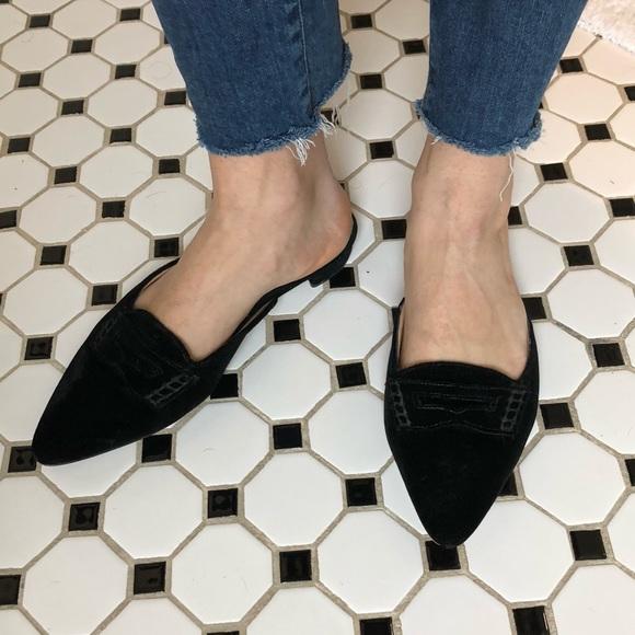 J Crew Pointed Toe Black Velvet Slides